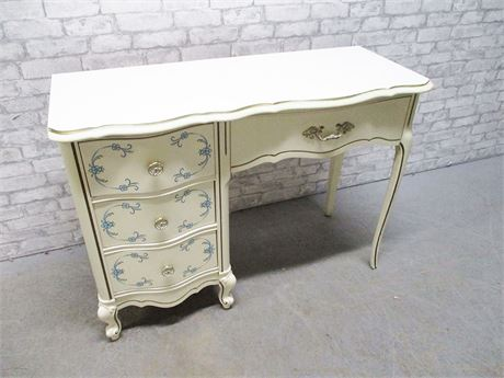BLUE AND IVORY FRENCH PROVINCIAL DESK