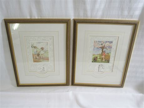 2 FRAMED & MATTED LIMITED EDITION PRINTS - OLD NURSERY RHYMES