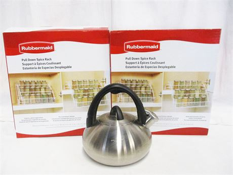 LOT OF KITCHEN ESSENTIALS FEATURING CALPHALON AND RUBBERMAID