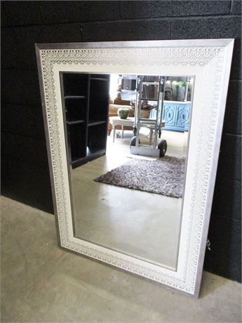 LARGE MIRROR WITH IVORY/BRUSHED PLATINUM DECORATED FRAME