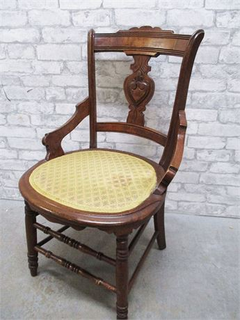 VINTAGE CARVED FIDDLEBACK CHAIR