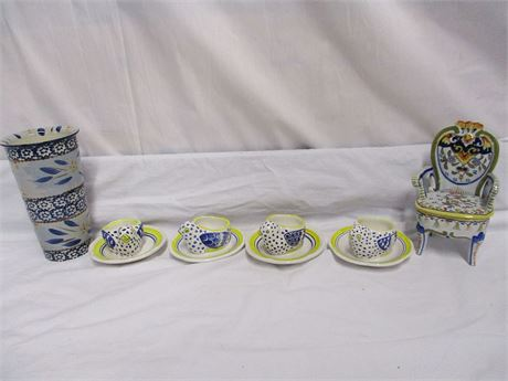 LOT OF BLUE-THEMED POTTERY FEATURING HENRIOT QUIMPER