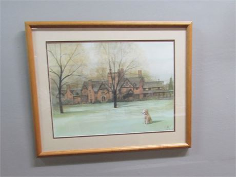 Framed Matted Signed & Numbered (#105/1000) Stan Hywet Hall  P Buckley Moss 1991