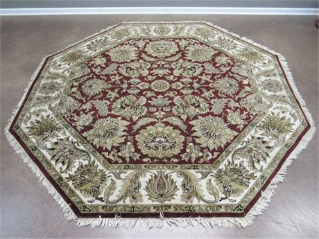 100% Hand-Woven Octagon Shaped Wool Rug - India