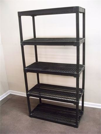 5-TIER BLACK PLASTIC MODULAR STORAGE SHELF