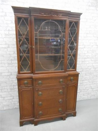 VINTAGE BREAKFRONT/CHINA CABINET WITH FRETWORK