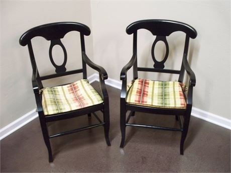 2 POTTERY BARN NAPOLEON BLACK RUSH SEAT ARM CHAIRS