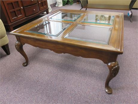 French Provincial Glass Inlayed Coffee Table