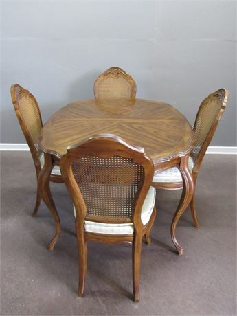 Nice Drexel Dining Table with 4 Cane-back Chairs 2 Leaves and Table Pads