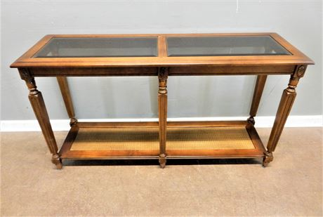 Cane / Wood Console Table Glass Top