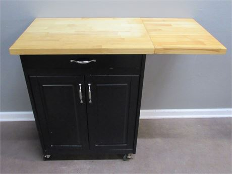Black Kitchen/Utility Cart with Drop-leaf and Wood Counter Top