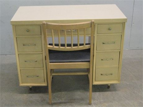 VINTAGE MID CENTURY BLONDE DESK AND CHAIR