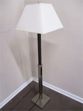 BRUSHED CHROME AND WOOD FLOOR LAMP