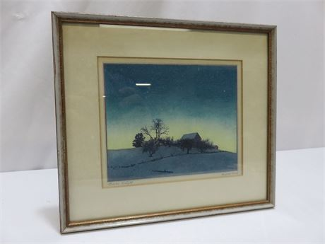 "Vintage MAXFIELD PARRISH ""Winter Twilight"" Lithograph Print (Signed)"