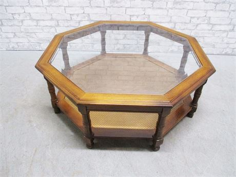 OCTAGONAL CANED COFFEE TABLE WITH GLASS TOP