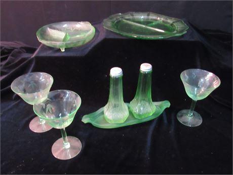 8 Piece Misc. Depression/Vaseline Glass Lot