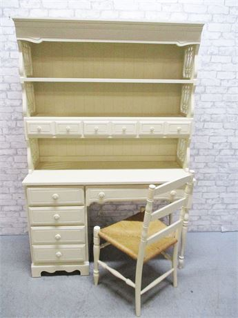 4-DRAWER DESK WITH LIGHTED HUTCH BY DIXIE