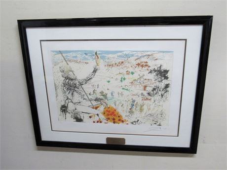 FRAMED MATTED SIGNED AND NUMBERED - L' AGE D'OR DE DON QUIXOTE - SALVADOR DALI