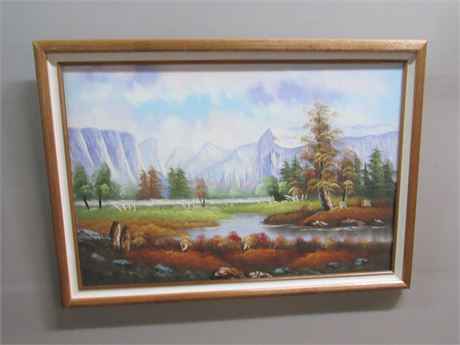 Framed Oil On Canvas Landscape by W. Amion