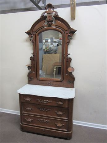 GREAT LOOKING ANTIQUE VICTORIAN MARBLE TOP DRESSER WITH MIRROR