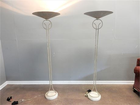 Two Contemporary Metal Floor Lamps with Dimmers