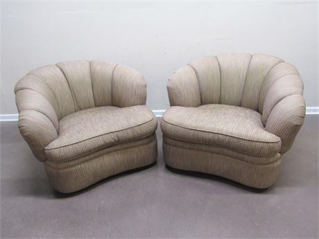 2 LARGE COMFORTABLE CENTURY FURNITURE UPHOLSTERED SWIVEL LOUNGE CHAIRS