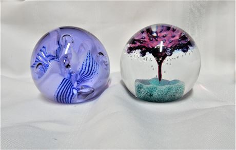 Two Vintage Caithness Scotland Art Glass Paperweights