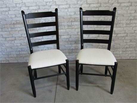 2 Arhaus Black Ladder Back Chairs with Upholstered Seats