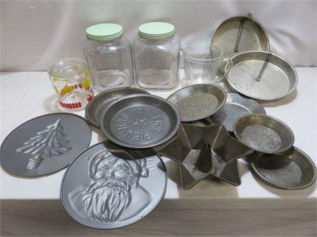 Vintage Glass Canister Jar & Pie Tins Lot