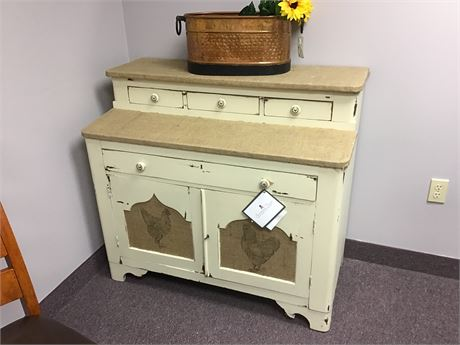 Farm Drawer Cabinet with Burlap