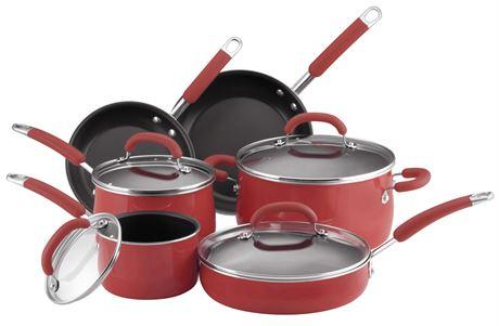 RACHAEL RAY Porcelain Enamel 10-Piece Cookware Set