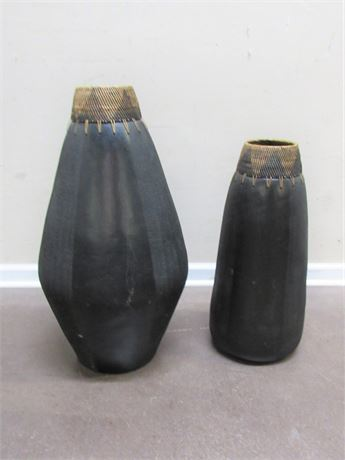 2 VERY LARGE DECORATIVE CERAMIC VASES
