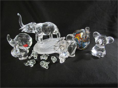 11 PIECE GLASS AND CRYSTAL FIGURINE LOT