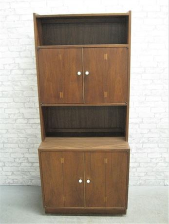 MID CENTURY STYLE BOOKCASE WITH BUTTERFLY INLAY
