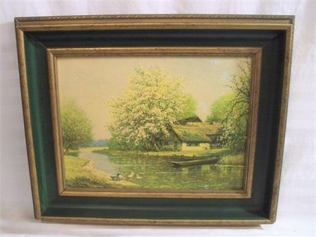 VINTAGE FAUX OIL ON CANVAS PRINT - SPREEWALD IN SPRING BY ERNA KRUGER
