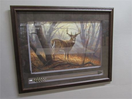 FRAMED AND MATTED WHITETAIL DEER/BUCK PRINT BY MILLETTE