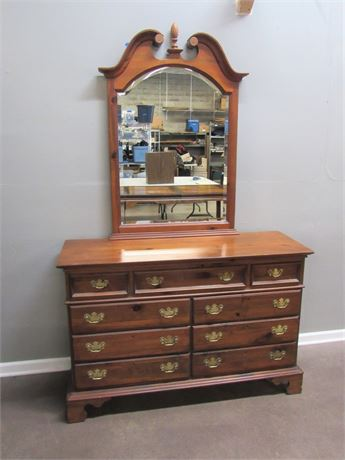 Nice Solid Wood 9 Drawer Dresser with Chippendale Style Beveled Glass Mirror
