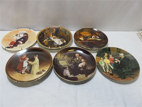 6-Piece NORMAN ROCKWELL Limited Edition Collector Plate Lot