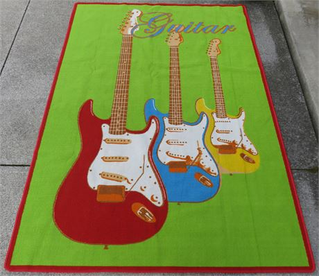 7 ft. x 5.6 ft. Guitar Theme Area Rug