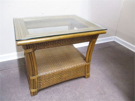 RATTAN SIDE TABLE WITH GLASS TOP BY BOCA RATTAN