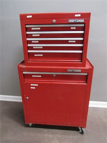 Craftsman 2 Piece Tool Chest on Casters with Misc. Tools
