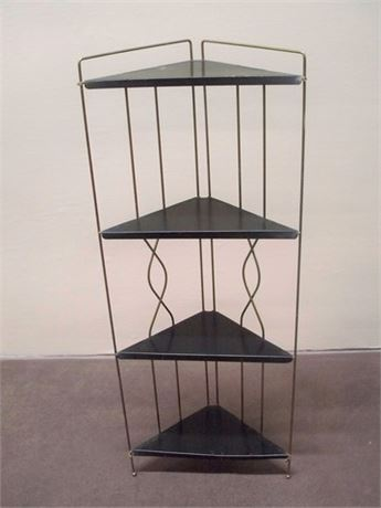 VINTAGE 4-TIER METAL CORNER SHELF