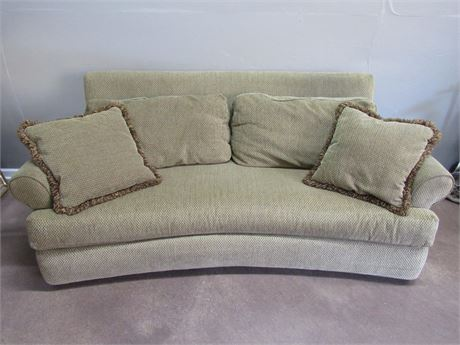 Norwalk Furniture Curved Green Sofa With Throw Pillows