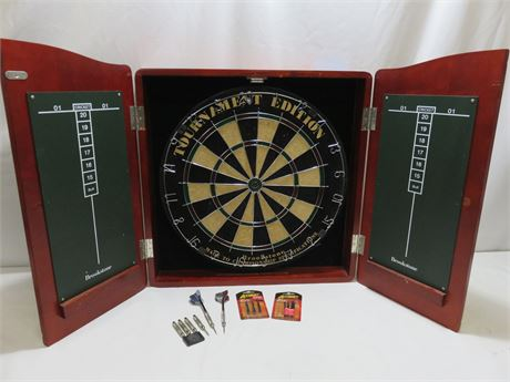 BROOKSTONE Tournament Edition Dart Board Wall Cabinet