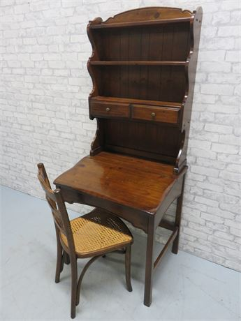 Knotty Pine Writing Desk with Hutch