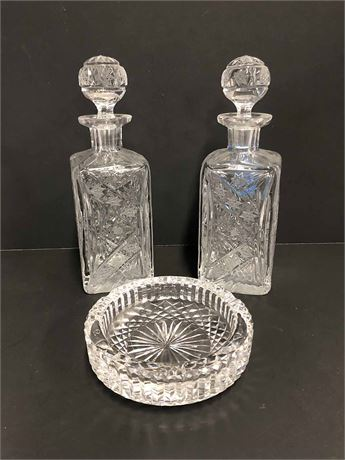 Crystal Decanters & Waterford Ashtray