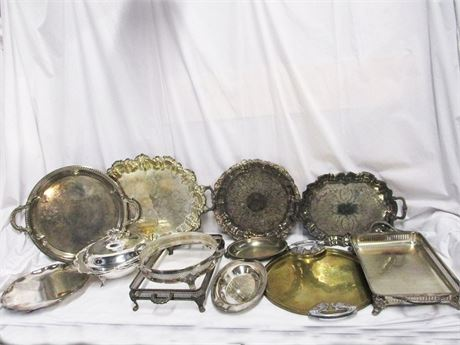 LOT OF SILVER PLATE AND BRASS SERVE WARE