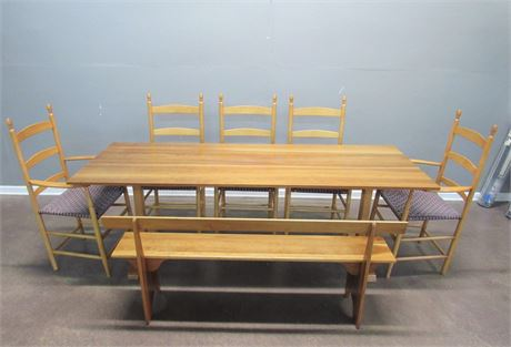 Nice Dining Table with a Bench and 5 Chairs