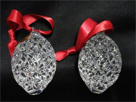 PAIR OF WATERFORD STRAWBERRY CHRISTMAS ORNAMENTS