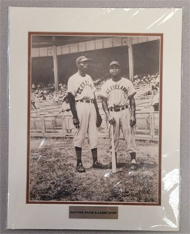 LARRY DOBY & SATCHEL PAIGE MATTED PHOTOGRAPH CLEVELAND INDIANS